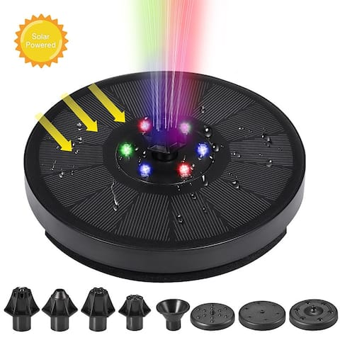 7V/3W Solar Powered Fountains IP68 Waterproof Fountains 6 Lights Floating For Garden, Pond, Fish Tank, Pool