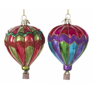 Hot Air Balloons Glass Christmas Holiday Ornaments Set of 2 Noble Gems