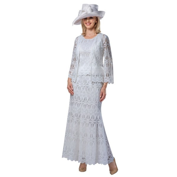 Giovanna Signature 3pc Lux Lace Skirt Suit w/ Scallop Hems. Opens flyout.