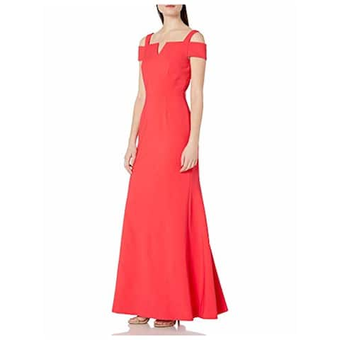 TAHARI Womens Coral Short Sleeve Full Length Formal Dress Size 16