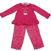 Peanut Buttons Baby Girls Fuchsia Animal Print Ruffle 2 Pc Pant Set 12-24M