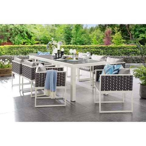 Acampo Modern Grey and White 9 Piece Outdoor Patio Dining Set with Grey Cushions