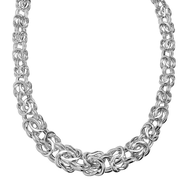 Eternity Gold Graduated Byzantine Chain Necklace in 14K White Gold