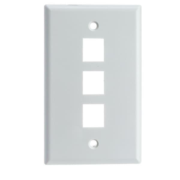 Offex Keystone Wall Plate, White, 3 Hole, Single Gang