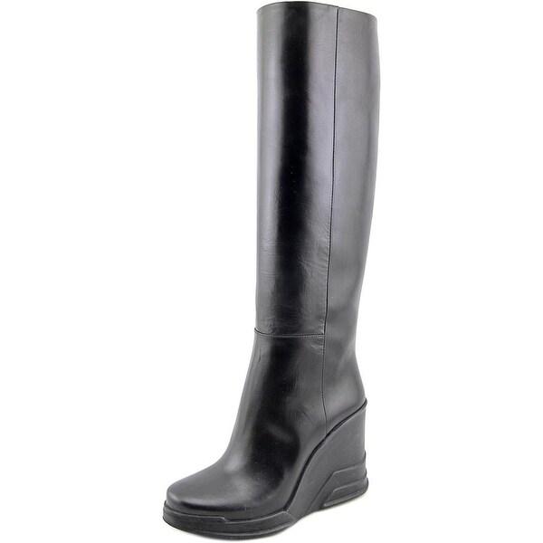 Prada 1WZ005 Women Round Toe Leather Black Knee High Boot