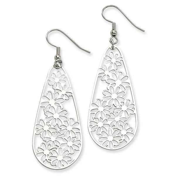 Chisel Stainless Steel Flower Teardrop Wire Earrings