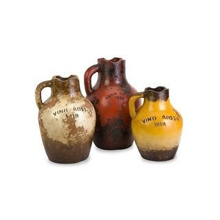 Set of 3  Red, Yellow, and Brown Vino Rosa Terracotta Decorative Vases with Handle 16.75