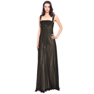 Marc Bouwer Ruched Silk Chiffon Beaded Formal Evening Gown Dress
