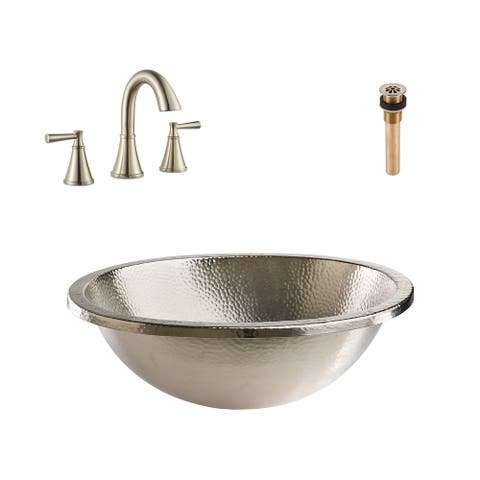 Edison Drop in or Undermount Nickel Bath Sink with Cantara Faucet and Drain