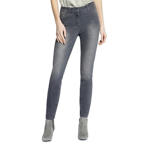 Basler Womens Plus Skinny Jeans Denim Studded - Gray