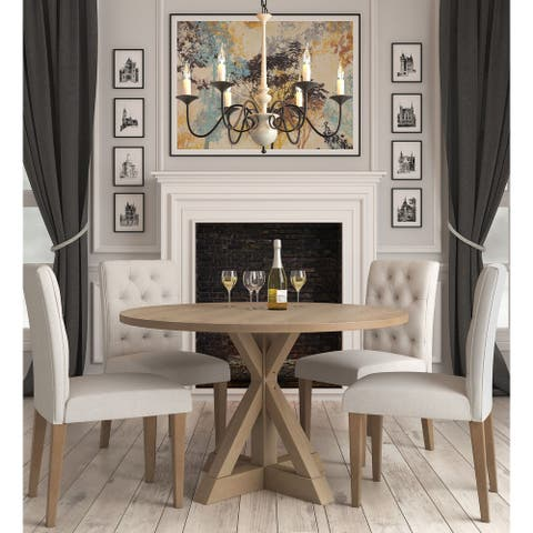 The Gray Barn Buffalo Way Rustic Beige Round Dining Table