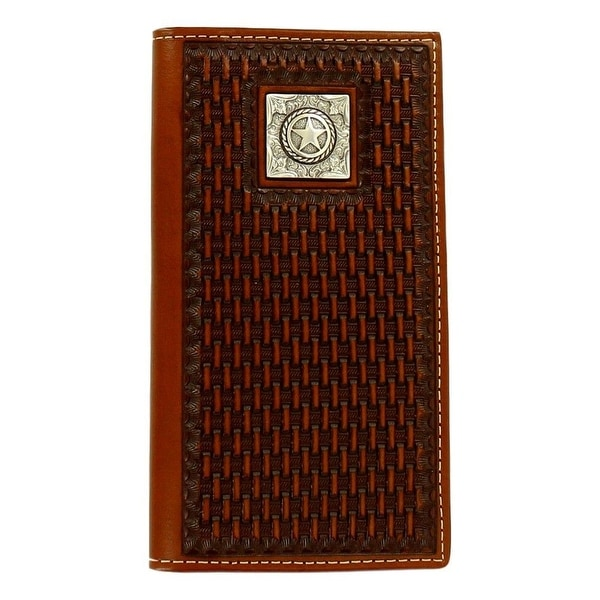 Ariat Western Wallet Mens Basket Weave Texas Star Rodeo Tan