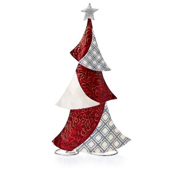 "14.5"" Pop of Red Capiz Shell Christmas Tree Christmas Table Top Figurine Decoration"