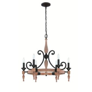 Jeremiah Lighting 38126 Glenwood 6 Light Candle Style Chandelier - 26.75 Inches - aged bronze / distressed oak