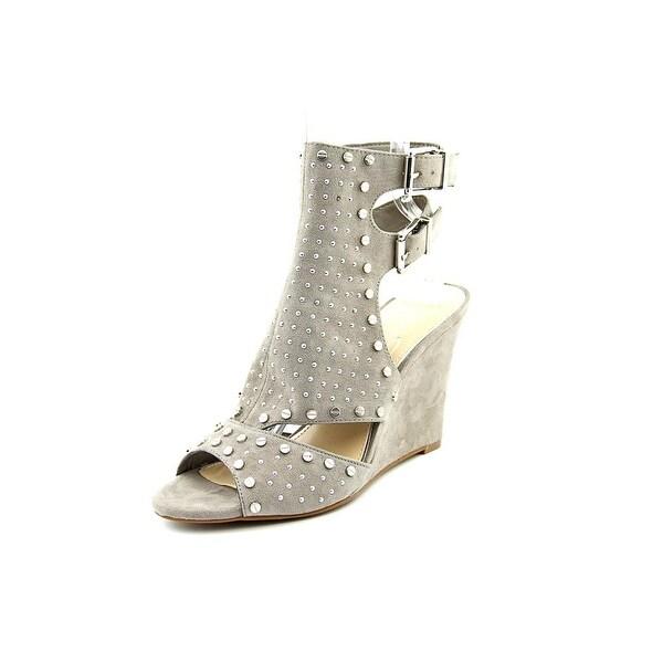 Jessica Simpson Maack Women Open Toe Canvas Gray Wedge Heel
