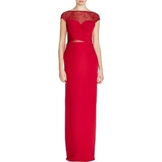 ML Monique Lhuillier Womens Formal Dress Crepe Lace Trim - 6