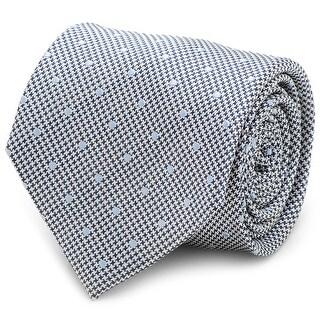 Dotted Herringbone Grey Silk Tie