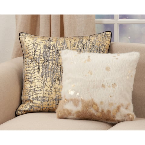 Foil Print Faux Cow Hide Poly-Filled Throw Pillow