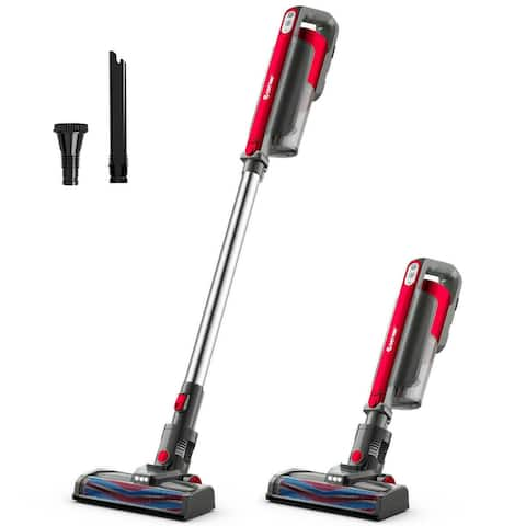 Cordless 6 in 1 Handheld Stick Vacuum Cleaner with Detachable Battery & Filtration-Red - Red - Onesize