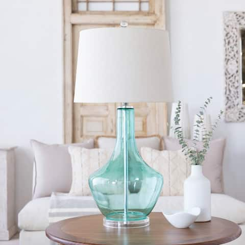 Transitional Joe Blue Green Table Lamp