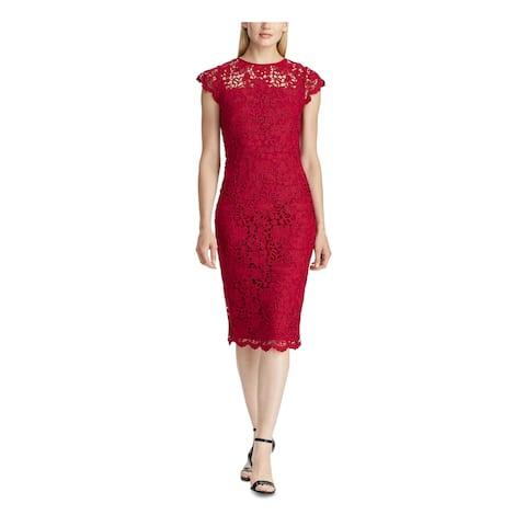 RALPH LAUREN Red Sleeveless Midi Sheath Dress Size 12