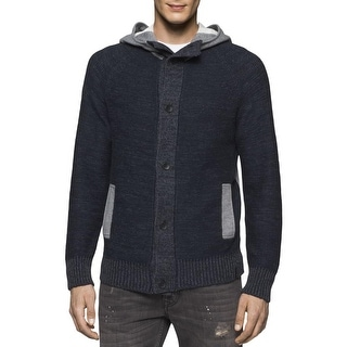 Calvin Klein Jeans Mens Cardigan Sweater Colorblock Hooded - XxL