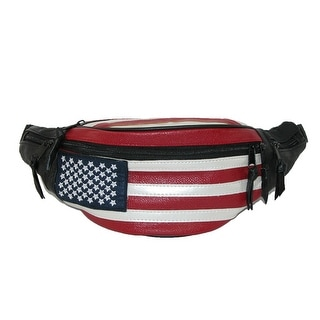 CTM® Leather Patriotic American Flag Waist Pack - Red