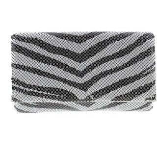Jessica McClintock Womens Zebra Flap Evening Handbag - Black/White - Small