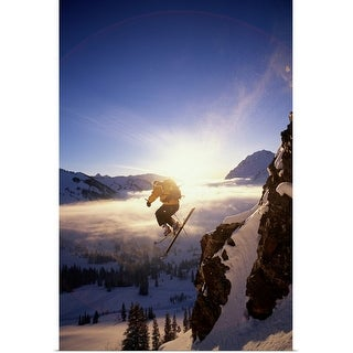 """Skier in mid air"" Poster Print"