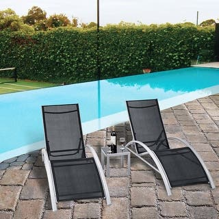 3 Pcs Outdoor Patio Pool Lounger Set Reclining Garden Chairs Gl Table