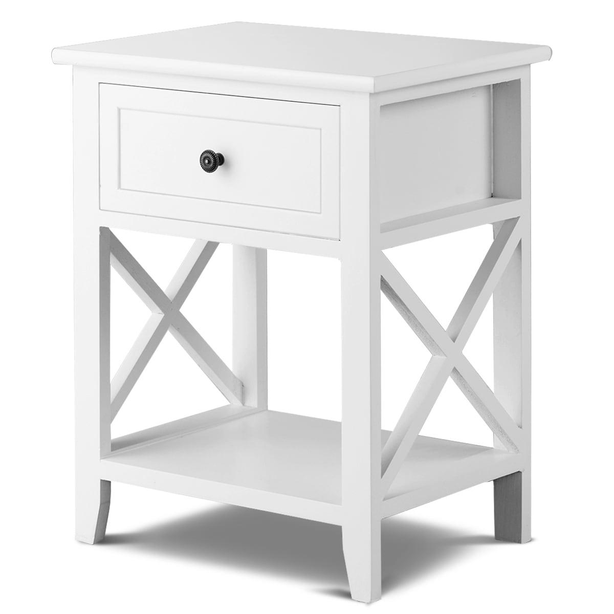 Black Nightstand Bedside Table 2 Drawer End Side Storage Shelf Bedroom Furniture