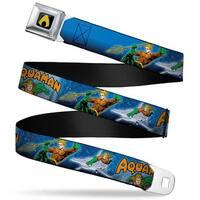 Aquaman Logo Full Color Black Yellow Aquaman Action Poses2 Scales Blues Seatbelt Belt