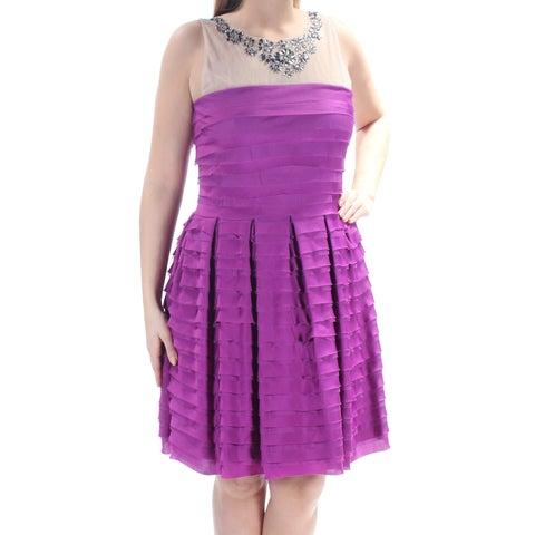 TADASHI SHOJI Womens Purple Pleated Rhinestone Sleeveless Jewel Neck Above The Knee Layered Party Dress Size: 16