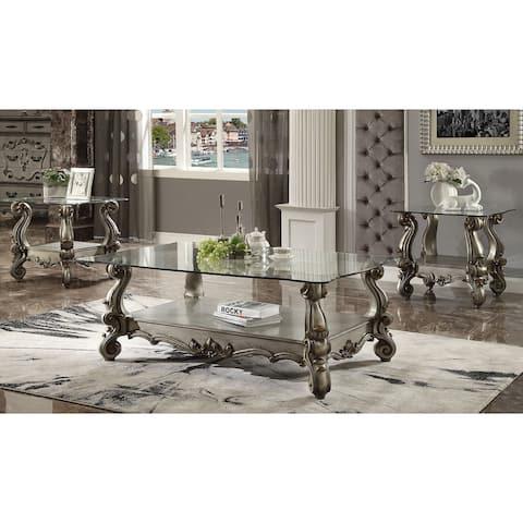 ACME Versailles End Table, Antique Platinum & Clear Glass