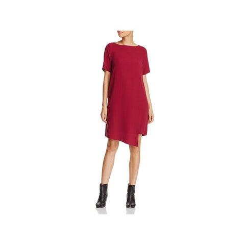 Eileen Fisher Womens Wear to Work Dress Faux-Wrap Knee-Length