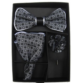 Men's Black & White Geometric Bow Tie with matching Hanky and Lapel Flower - One size