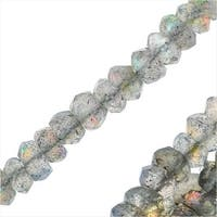 Labradorite Gemstone Bead Strands, Facected Rondelles 2x3.5mm, 1 Strand, Grey