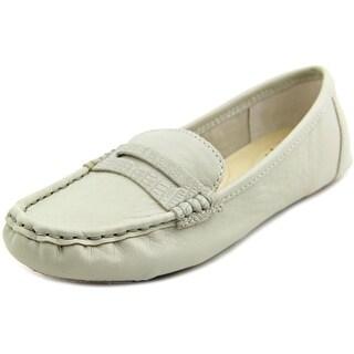 Isaac Mizrahi Reba Women Moc Toe Leather Gray Loafer