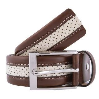 Romeo Gigli Y372/35 CAFI Tan/Ivory Leather/Suede Adjustable Belt