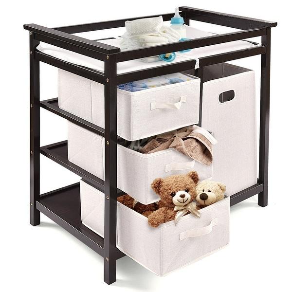Costway Espresso Infant Baby Changing Table w/3 Basket Hamper Diaper Storage Nursery - Coffee