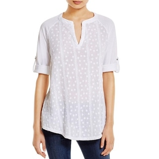 XCVI Womens Casual Top Sheer Embroidered