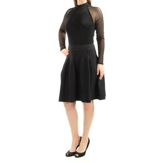 Womens Black Long Sleeve Above The Knee Fit + Flare Cargo Evening Dress Size: M