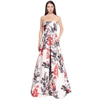David Meister Contrast Leaf Print Strapless Evening Ball Gown Dress - 6