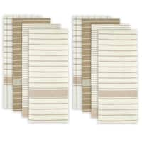 "Set of 8 Taupe and White Striped Pattern Rectangular Dish Towels 28"" x 20"""