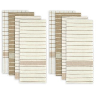 """Set of 8 Taupe and White Striped Pattern Rectangular Dish Towels 28"""" x 20"""""""