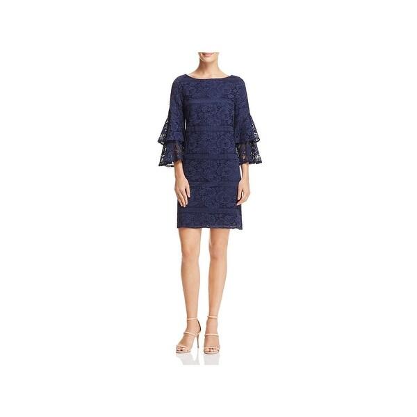 Eliza J Womens Shift Dress Lace Bell Sleeves