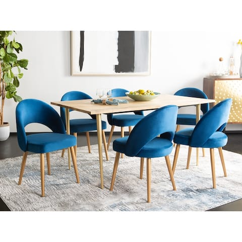 "Safavieh Dining Giani Retro Navy / Gold Dining Chair (Set of 2) - 21.3"" x 24.3"" x 31.8"""