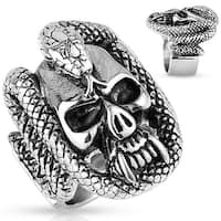 Skull with Snake Coil Stainless Steel Ring (Sold Ind.)