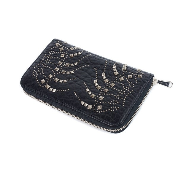 Roberto Cavalli Womens Black Silver Studded Zip Continental Wallet - L