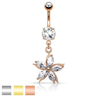 Flower w/ CZ Shard Petals Dangle Navel Ring